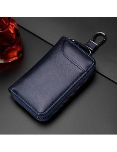 Univerzális bőr övre csatolható cipzáras kulcstartó táska - KÉK - T12624