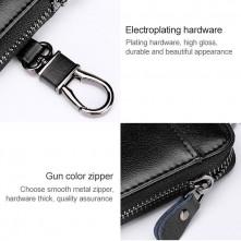 Univerzális bőr övre csatolható cipzáras kulcstartó táska - FEKETE - T12625