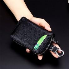 Univerzális bőr övre csatolható cipzáras kulcstartó táska - KÁVÉBARNA - T12626