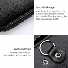 Univerzális bőr övre csatolható cipzáras kulcstartó táska - PINK - T12627
