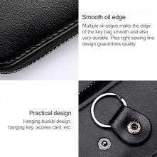 Univerzális bőr övre csatolható cipzáras kulcstartó táska - BARNA - T12628