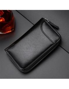 Univerzális bőr övre csatolható cipzáras kulcstartó táska - 12 x 7.5 x 2.5 cm - FEKETE - T12646