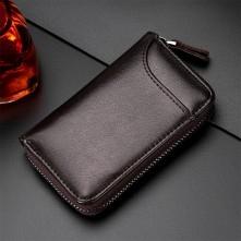 Univerzális bőr övre csatolható cipzáras kulcstartó táska - 12 x 7.5 x 2.5 cm - KÁVÉBARNA - T12647
