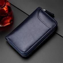Univerzális bőr övre csatolható cipzáras kulcstartó táska - 12 x 7.5 x 2.5 cm - KÉK - T12648