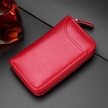 Univerzális bőr övre csatolható cipzáras kulcstartó táska - 12 x 7.5 x 2.5 cm - PIROS - T12648