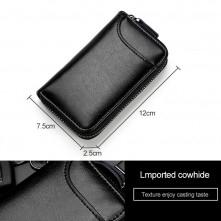 Univerzális bőr övre csatolható cipzáras kulcstartó táska - 12 x 7.5 x 2.5 cm - PINK - T12650