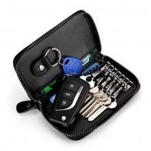 Univerzális bőr övre csatolható cipzáras kulcstartó táska - 12 x 7.5 x 2.5 cm - BARNA - T12651