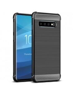 IMAK Vega karbon mintás ütésálló tok Samsung Galaxy S10 készülékhez - FEKETE