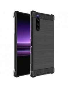 IMAK Vega karbon mintás ütésálló tok Sony Xperia 5 készülékhez - FEKETE