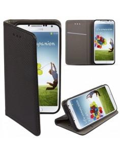 Samsung Galaxy A80/A90 fekete mágneses szilikon keretes könyvtok - FEKETE