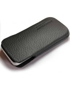 Puha tapintású valódi bőr oldalt nyitott fekete telefontok - 6x11,5cm