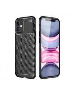 iPhone 12 karbon mintás ultra vékony szilikon tok - FEKETE