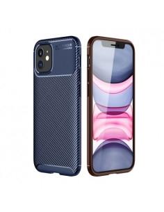 iPhone 12 karbon mintás ultra vékony szilikon tok - KÉK