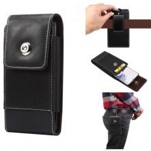 Övre fűzhető 6.9 colos univerzális telefontok, övtok mágneszárral, kártyatartóval - FEKETE
