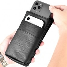 PULOKA 3 rekeszes övre fűzhető bőrtok karabínerrel - 17 x 9 x 1.6 cm - FEKETE
