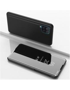 Flip telefontok átlátszó előlappal Samsung Galaxy A12 készülékhez - FEKETE