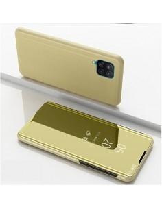 Flip telefontok átlátszó előlappal Samsung Galaxy A12 készülékhez - ARANY