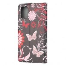 Oldalra nyíló mintás telefontok Samsung Galaxy A02s telefonhoz - RÓZSASZÍN PILLANGÓ