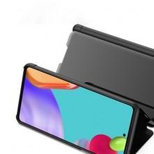 Flip telefontok átlátszó előlappal Samsung Galaxy A52 5G készülékhez - FEKETE