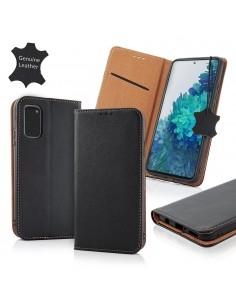 Oldalra nyíló valódi bőr tok Samsung Galaxy A72 5G / A72 telefonhoz - FEKETE