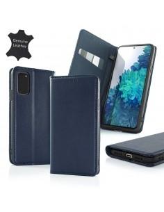 Oldalra nyíló valódi bőr tok Samsung Galaxy A72 5G / A72 telefonhoz - KÉK