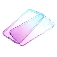 Rugalmas TPU tok elő + hátlapi Samsung Galaxy A40 készülékhez - LILA - KÉK